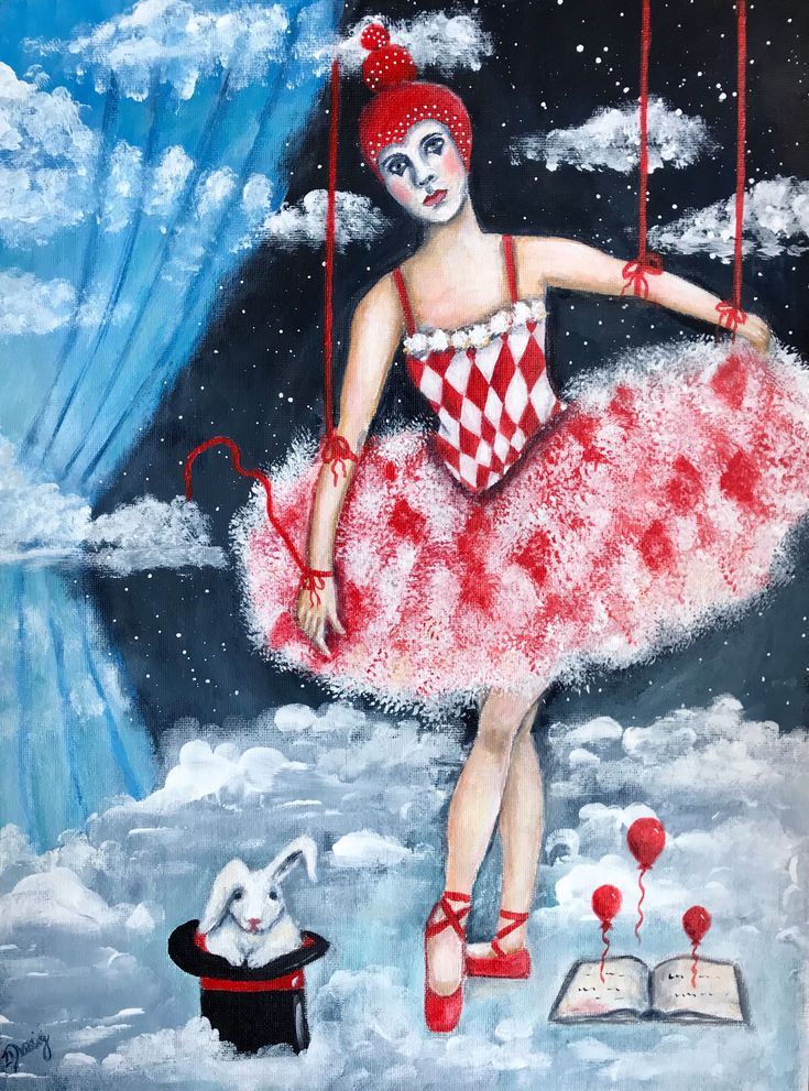 The Puppeteer's Stage acrylics on canvas board by Zera Derrig