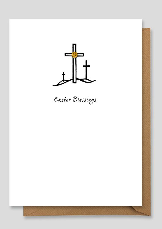easy pen and ink paper art christian theme religious easter card design to make  Hand Finished Easter Card by willowjamesuk on Etsy