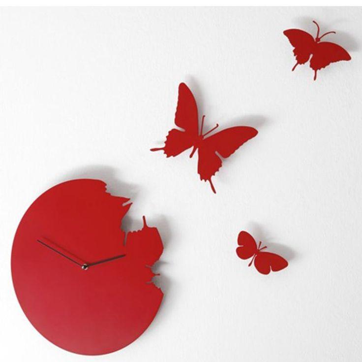 Orologio da parete Butterfly rotondo colore ROSSO in metallo laccato Ø 40 Con 3 farfalle
