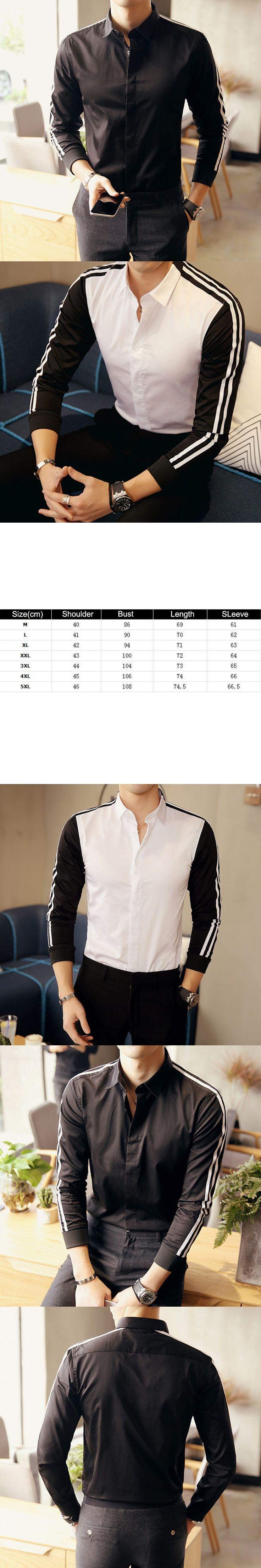 Turn Down Collar Striped Long Sleeve Shirt Color Block Business Men Slim Fit Top