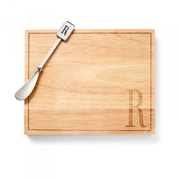 Your Aunt So your Aunt just decided to host impromptu Christmas Eve cocktails and you know a bag of cookies isn't going to cut it. Show her you care by ordering her a monogrammed cheeseboard and matching knife. Monogram Cheese Board , C. Wonder $28