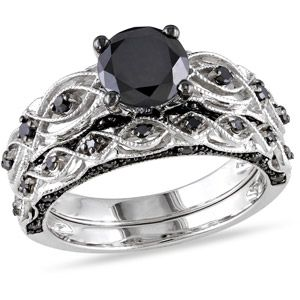 1-3/8 Carat T.W. Black Diamond 10kt White Gold Bridal Set  This is the incredibly beautiful wedding set my husband got me for our vow renewal! So victorian gothic, so me! I LOVE IT!