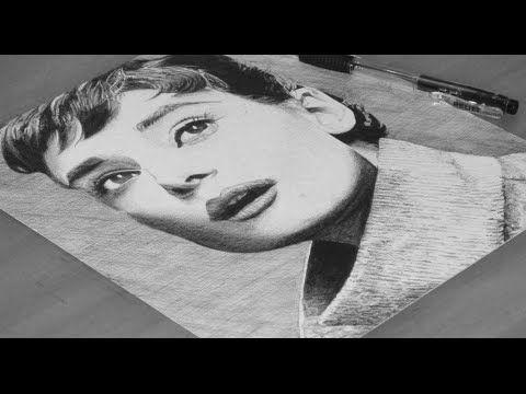 Audrey Hepburn Pen Drawing - DeMoose Art