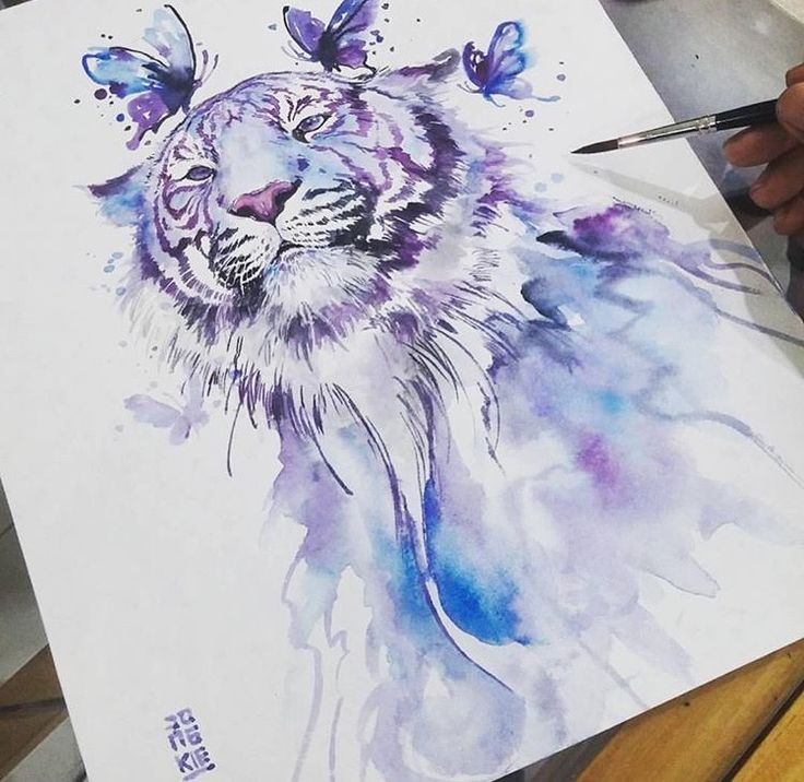 watercolor tattoo white tiger