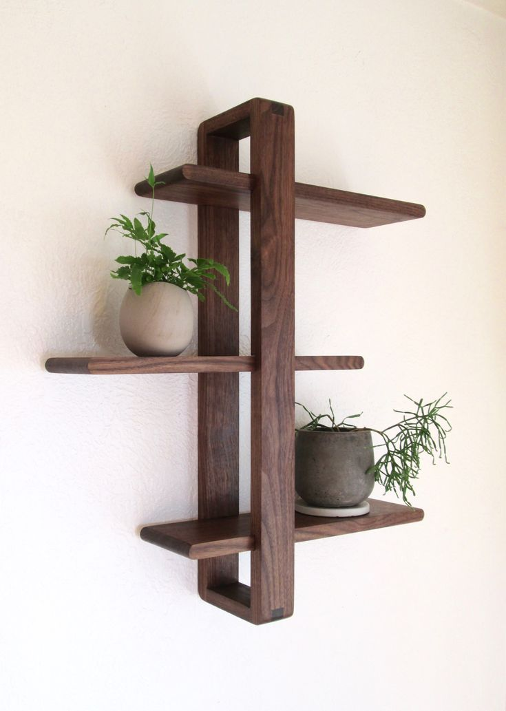 Modern Wall Shelf, Solid Walnut for Hanging Plants, Books, Photos. Handmade, Adjustable. Mid-century/Scandinavian Inspired