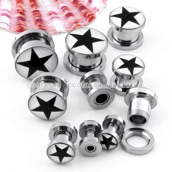 Pick Gauge Black Star Stainless Steel Screw Ear Tunnels Plugs Stretcher Punk #New