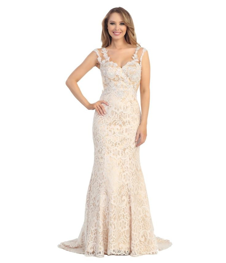2014 Prom Dresses - Ivory & Nude Floral Lace Cap Sleeve Gown