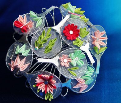 Uchiwa (Round Fans) Tsumami Kanzashi for July