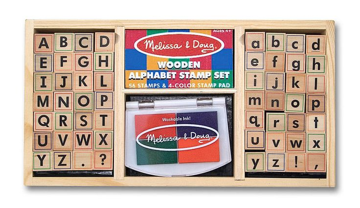 Write exciting messages with this beautifully organized wooden alphabet stamp set. It includes 56 letters (upper and lower case), punctuation marks and a 4-color stamp pad. Keep it neat in the convenient wooden storage tray.