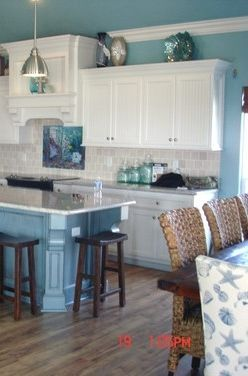 beachcoastal decor white cabinets and warm wood floor different blue though - Beach Kitchen Ideas