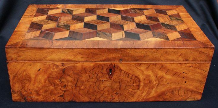 Antique 19th Century Burl Wood Lap Desk Writing Box W/Tumbling Blocks Inlay | eBay