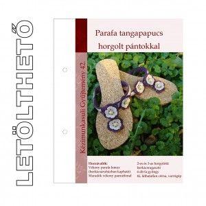 Letölthető leírás 42. Parafa tangapapucs horgolt pántokkal