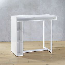 """Great for kids to keep some books etc public white 42"""" high dining table"""