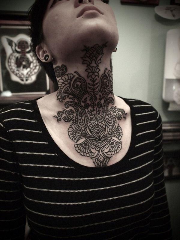 Amazing Full Neck Tattoo Design for Girls