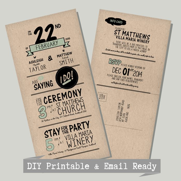 Invitation | DIY Printable | All affordable | For Weddings & paper design on a budget | hello@myweddinginvite.co.nz | #weddinginvitation www.myweddinginvite.co.nz