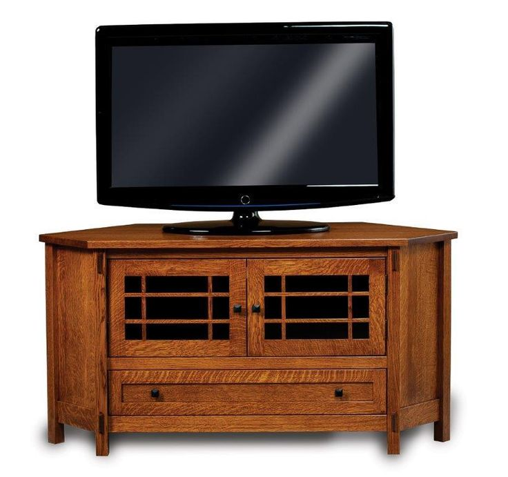 Amish Centennial Corner TV Stand with Two Doors and Drawer Make use of a quiet corner with the Centennial Corner TV Stand. This mission furniture saves space while keeping music and movies organized.