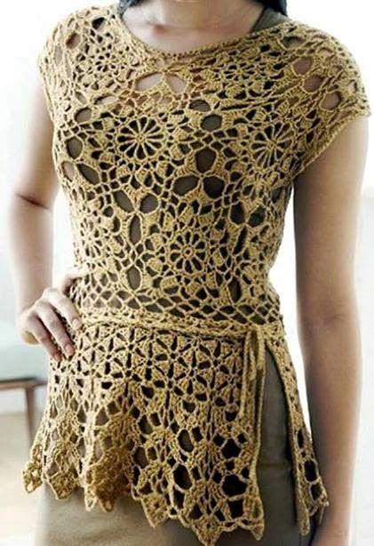 Crochet top with open side…very clear diagram for pattern….