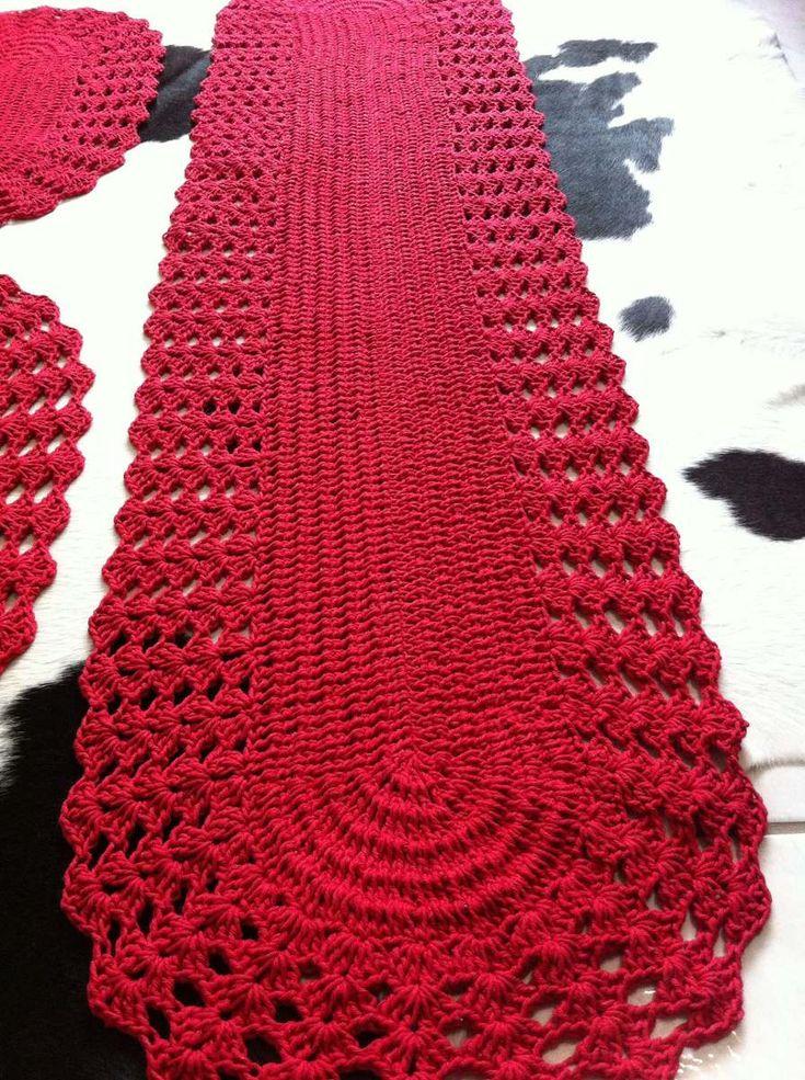 lindo jogo de tapete para cozinha de croche trico vermelho