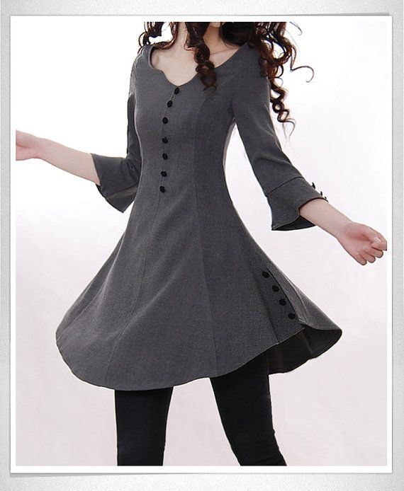 Dark Gray Cotton blouse women shirt fashion shirt vintage shirt--TP014