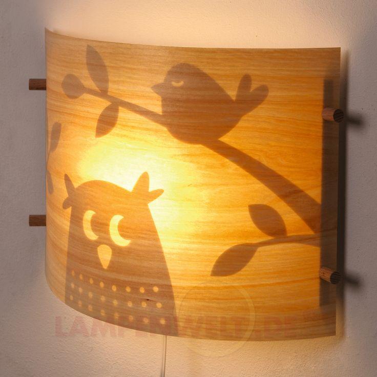 Holzfurnier-LED-Wandleuchte Traumeule 4500034