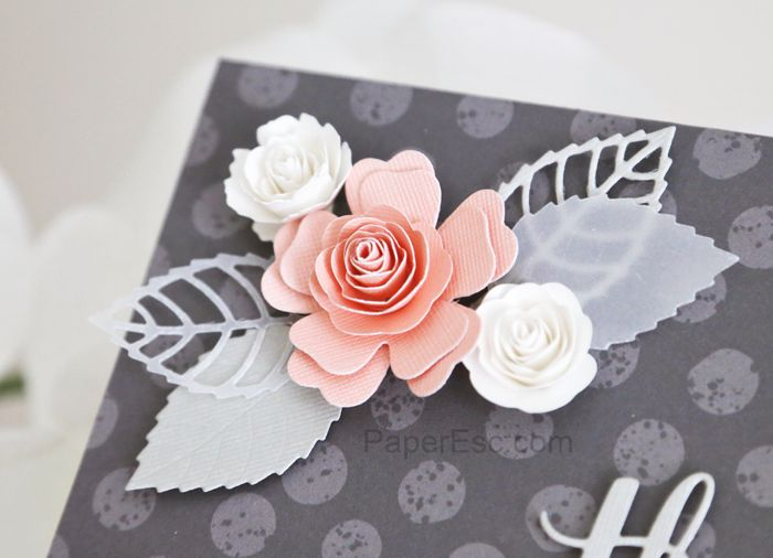 thank you card mftstamps Die-namics Layered Leaves dies, Mini Royal Roses dies, Mini Hybrid Heirloom Rose dies,Thanks & Hello dies.