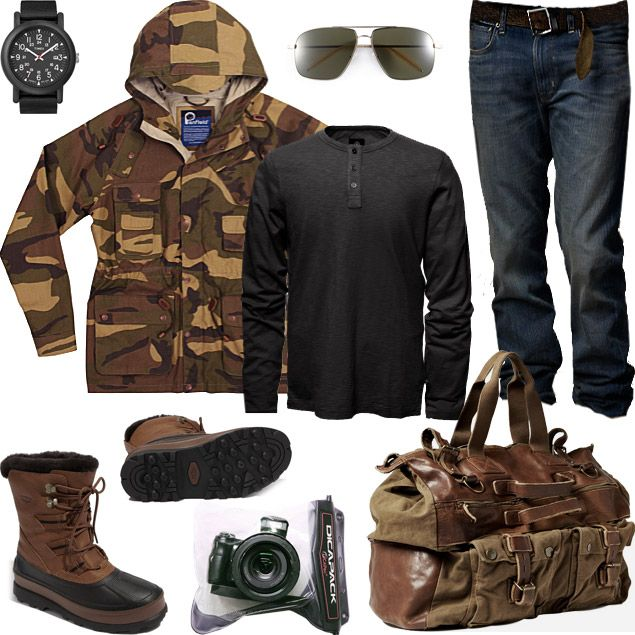 CAMO SHOOTING  Shoot pictures, not bullets, in this all-weather ensemble that'll keep you dry whether you're snapping shots of crocodiles or cityscapes.