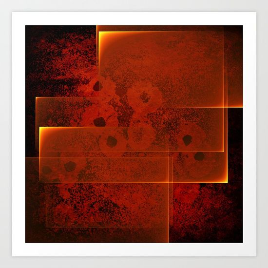 Abstract fiery landscape by Wendy Townrow