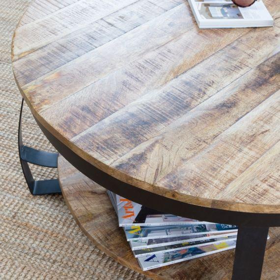 Table Basse Industrielle Ronde Bois Et Metal Deux Plateaux Avec