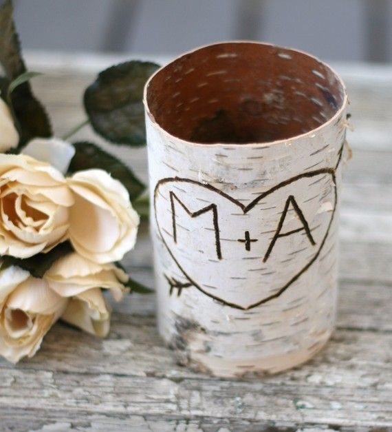 This would be way cute for centerpieces! Replace M with B!    Google Image Result for http://emmalinebride.com/wp-content/uploads/2011/03/birch-bark-personalized-initials.jpg: Centerpiece, Wedding Decor Ideas, Wedding Ideas, Wedding Planning, Wedding Stuff, Kids Room, Birch Bark, Birch Vase