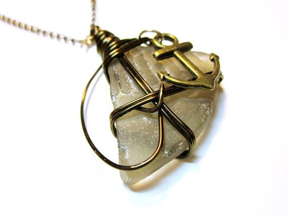 Brown Sea Glass Designer Wire Wrapped Pendant Gold Anchor Charm Brown Wire #Gift Idea For Her SEA GLASS PENDANTS     Wonderfully and Interestingly Shaped Sea Glass !   If On... #seaglass #nautical #seaglaspendant #nauticalnecklce #giftidea #giftforher #fashion