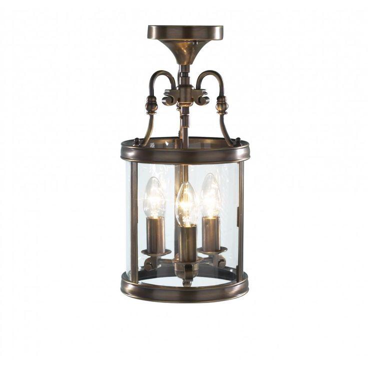 £128.50  Dar Lighting LAM0375 Lambeth 3 Light Lantern Antique Brass