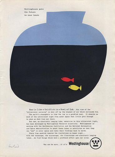 Westinghouse Ad , Paul Rand < taste > pop retro / / simple / bold / < media material > poster < layout > layoutで分類した後にさらに分類 < colour > colourで分類した後にさらに分類 < decoration > 分類した後にさらに分類