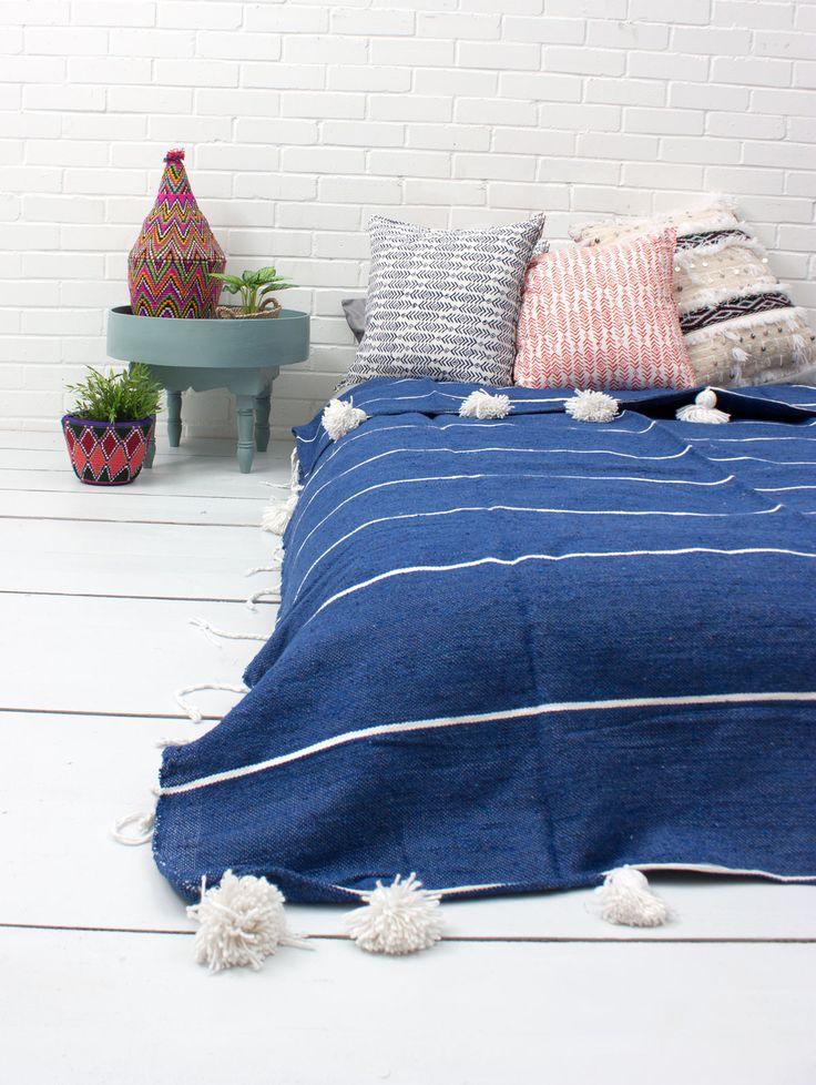 Tassel Stripe Indigo Pom Pom Blanket