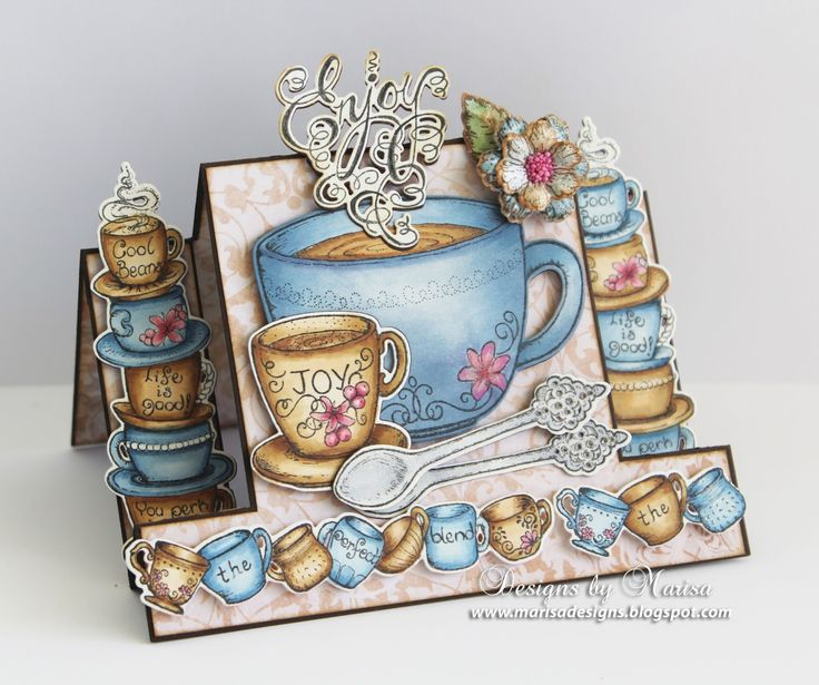 Card by Marisa Job  (120815)  [Heartfelt Creations (dies) Botanical Wings, Coffee Mugs, Coffee Talk; (stamps) All Stacked Up, Botanical Rose, Coffee Talk]