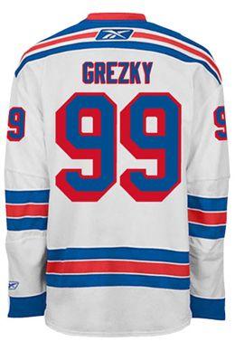 New York Rangers VINTAGE Wayne GRETZKY #99 Official Away Reebok Premier Replica NHL Hockey Jersey (HAND SEWN CUSTOMIZATION)