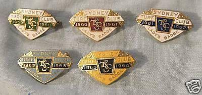 SYDNEY-TURF-CLUB-LADYS-BADGES-1959-60-to-1963-64