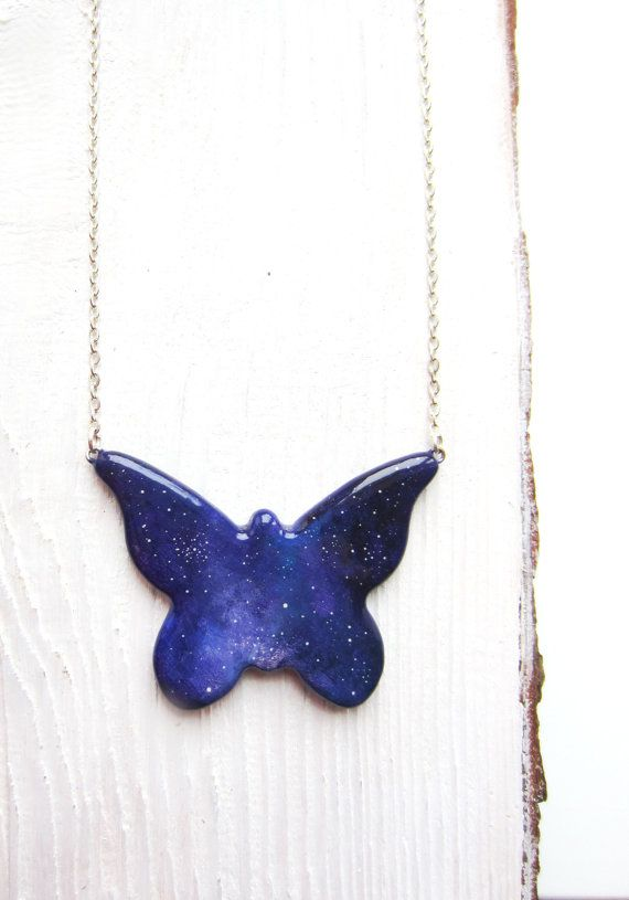 FREE SHIPPING Handpainted pendant butterfly pendant by MagicTwirl