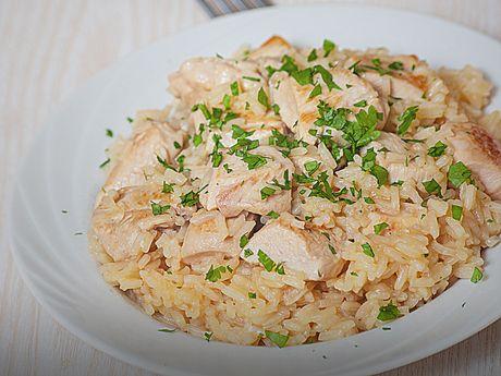 Risoto cremoso de frango com parmesão