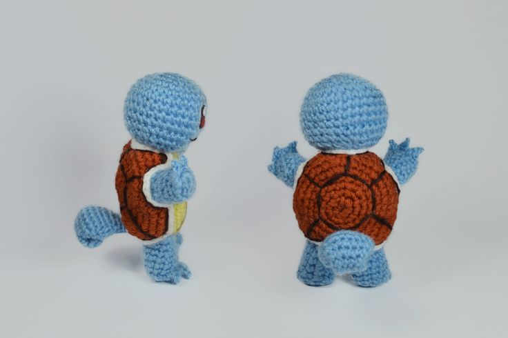 "Squirtle pokemon and pokeball amigurumi crochet toy, great for birthday gift. Created by ""Hedgehog - Amigurumi & Crafts""."