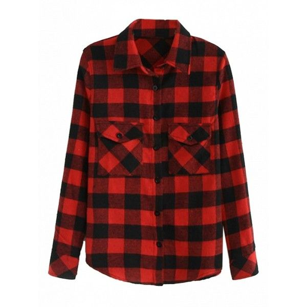 Choies Red Plaid Pocket Detail Button Up Long Sleeve Shirt ($15) ❤ liked on Polyvore featuring tops, jackets, red, button-down shirt, button up shirts, red button up shirt, long-sleeve shirt and pocket shirt