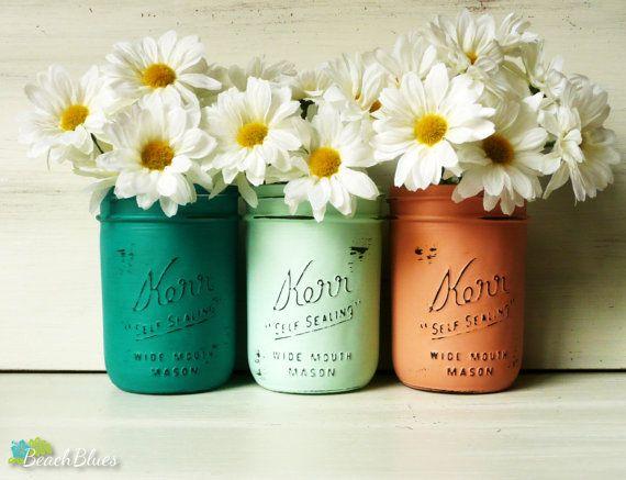 Destination Beach Wedding / Painted Mason Jars / Centerpiece / Vase / Aqua  / Pink / Table Decor / Set Of 4 / Wedding Decor / Tropical