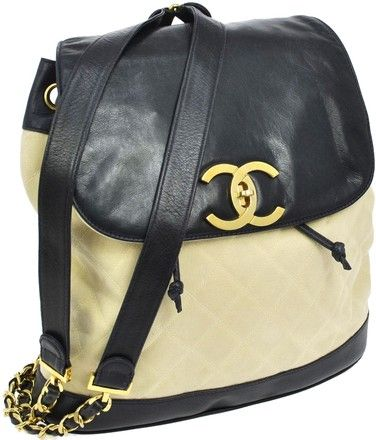 Chanel Auth Quilted Cc Chain Navy Beige Canvas Leather Vtg Backpack | Backpacks on Sale