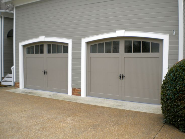 Custom Carriage Style Garage Doors On Our Home In Midlothian, VA.  Fiberglass Exterior Is