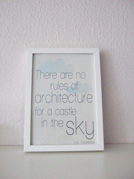 ♥Bau Dir Dein Luftschloss!♥    -liebevoll gestalteter Print mit schönem Zitat von G.K. Chesterton     -zarte blaugraue Wölkchen auf hellgrau gewisc...