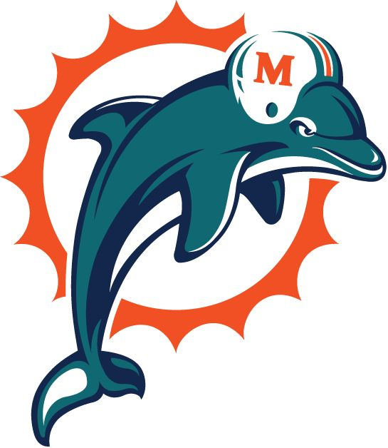 Miami Dolphins Primary Logo (1997) - Aqua and navy dolphin leaping in front of an orange sunburst