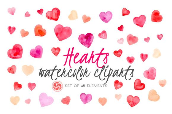 45 Watercolor Hearts by Anku Graphics on @creativemarket