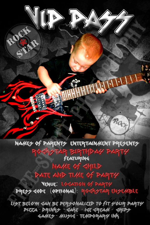 Rockstar Party Invitation  Delivered via email by UareInvited, $10.00
