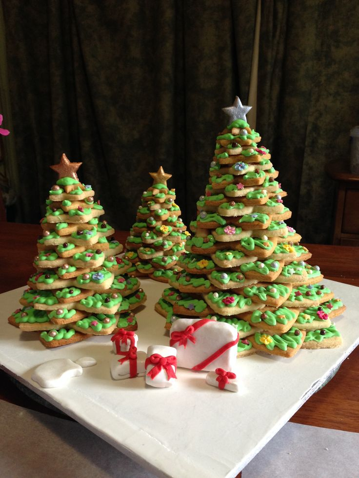 Christmas trees made of alternating shortbread and gingerbread.
