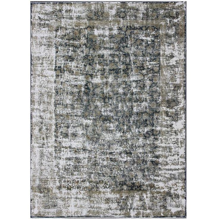 Distressed Vintage Persian Rug with Modern Design in Shades of Taupe and Blue | From a unique collection of antique and modern persian rugs at https://www.1stdibs.com/furniture/rugs-carpets/persian-rugs/