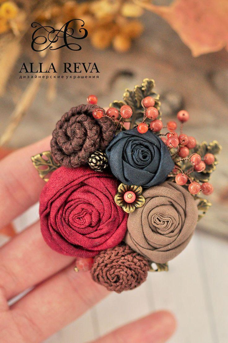 """Купить Брошь """"Осенний сонет"""" - комбинированный, брошь, текстильная брошь, цветы из ткани, текстиль, подарок"""